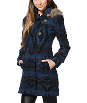 Lira Girls Wander Navy Tribal Print Duffle Jacket