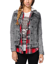 Lira Girls Wild One Aztec Acid Wash Denim Jacket