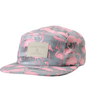 Lira Grey Flamingo Print 5 Panel Hat