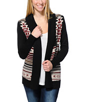 Lira Meeker Black Tribal Print Wrap Sweater