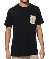 Lira Paradise Black Pocket Tee Shirt