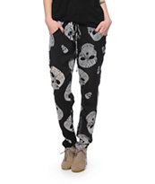 Lira Skull Head Black Chiffon Pants