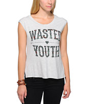 Lira Wasted Trinity Grey Open Back Muscle Tee Shirt