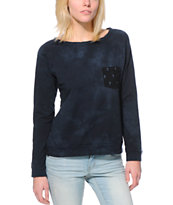 Lira Women's Acid Wash Crosses Pocket Black Crew Neck Sweatshirt