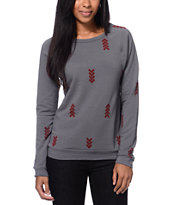 Lira Women's Arrows Charcoal Crew Neck Sweatshirt