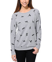 Lira Women's Bolt Print Heather Grey Crew Neck Sweatshirt