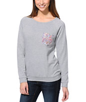 Lira Women's Botanic Pocket Heather Grey Crew Neck Sweatshirt