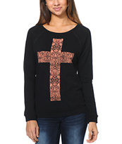 Lira Women's Cross Black Crew Neck Sweatshirt