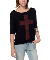 Lira Women's Cross Black Scoop Neck Tee Shirt