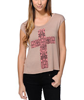 Lira Women's Cross Natural Open Back Muscle Tee Shirt