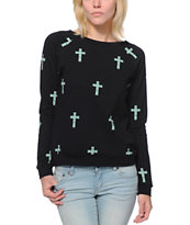 Lira Women's Crosses Black Crew Neck Sweatshirt