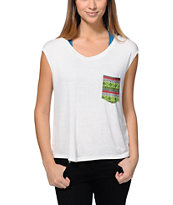 Lira Women's Jesse Natural Open Back Pocket Muscle Tee Shirt