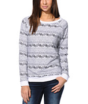 Lira Women's Mecca Print Black & White Crew Neck Sweatshirt
