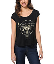 Lira Women's Ranger Black Open Back Tee Shirt