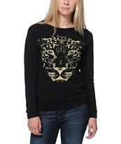 Lira Women's Spotted Black Long Sleeve Raglan Top