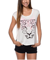 Lira Women's Spotted Natural Open Back Muscle Tee Shirt