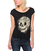 Lira Women's Sugar Black Open Back Tee Shirt
