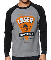 Loser Machine Greased Heather Grey & Black Crew Neck Sweatshirt