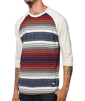 Loser Machine Hilman Grey Stripe Raglan Baseball Tee Shirt