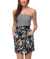 Love, Fire Aurora Black Floral Print Strapless Dress