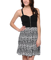 Love, Fire Black & White Tribal Print Zipper Dress