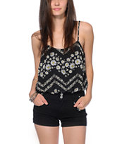 Love, Fire Daisy Chevron Print Chiffon Tank Top