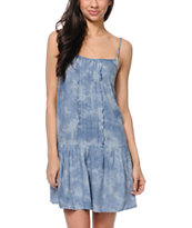 Love, Fire Drop Waist Blue & White Tie Dyed Dress