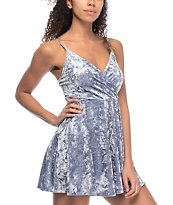 Love, Fire Ice Blue Crushed Velvet Wrap Dress