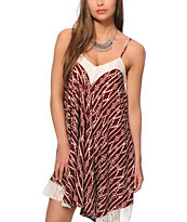 Love, Fire Kabri Burgundy Tribal Dress
