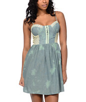 Love, Fire Mint & Cream Mineral Wash Dress Eyehook Bodice Dress