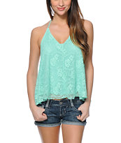 Love, Fire Mint Crochet Halter Tank Top