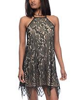Love, Fire Olive High Neck Lace Slip Dress