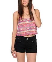 Love, Fire Tribal Print Chiffon Tank Top