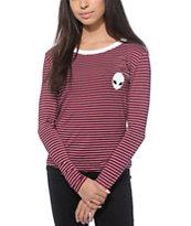 Lunachix Alien Stripe Long Sleeve Ringer T-Shirt