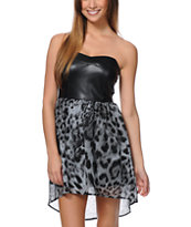 Lunachix Animal Print Strapless Dress