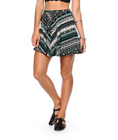 Lunachix Black, White & Mint Tribal Skater Skirt