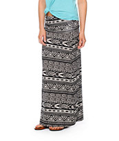 Lunachix Black & Cream Tribal Print Maxi Skirt