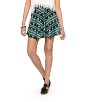 Lunachix Black & Mint Tribal Print Skater Skirt