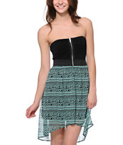 Lunachix Black & Mint Tribal Print Strapless High Low Dress