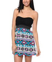 Lunachix Black & Multicolor Tribal Print Strapless Dress