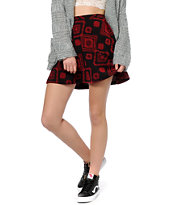 Lunachix Black & Red Tribal Woven Skater Skirt