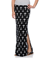 Lunachix Black & White Crosses Maxi Skirt