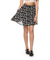 Lunachix Black & White Daisy Skater Skirt