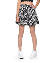 Lunachix Black & White Native Print Skater Skirt