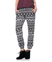 Lunachix Black & White Tribal Print Challis Pants
