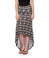 Lunachix Black & White Tribal Print High Low Maxi Skirt