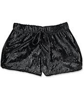 Lunachix Black Crushed Velvet Shorts
