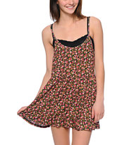 Lunachix Black Mini Floral Print Babydoll Dress