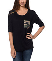 Lunachix Camo Print Black Pocket Tee Shirt
