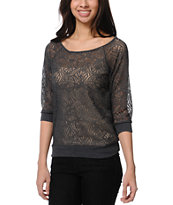 Lunachix Charcoal Swirl Lace Top